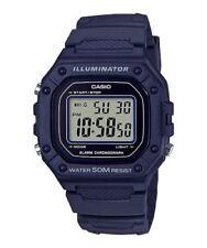 Casio 50 Meter WR Chronograph Watch, Alarm, Blue Resin, Illuminator, W218H-2AV