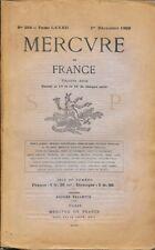 MERCURE DE FRANCE n° 299 .  1° décembre 1909 .