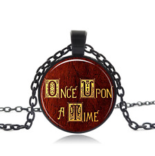 Once Upon A Time Black Glass Cabochon Necklace chain Pendant Wholesale