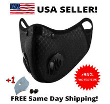 Reusable Activated Carbon Cycling Face Mask with 1 PM 2.5 Filter and 2 Valves