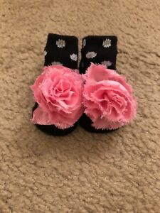 Baby Girl's Black & Pink Footies Size 0-3M