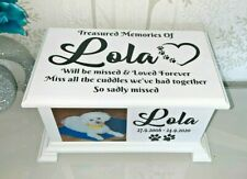 Pet Ashes casket with Photo Personalised urn memorial memory box  SC18P