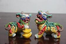 Feng Shui WuCai pottery porcelain Evil Guardian Lion Foo Fu Dog Kilin Beast Pair