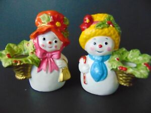Snowman & Snowlady Candle Holders Napcoware Vintage Red Cardinal Cute! 70's