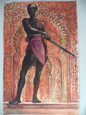 Original Gouache Painting Andre Delfau Listed French Artist MCM Nude Black Male!