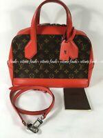 Auth Louis Vuitton Dora PM Coquelicot Red Leather Monogram Canvas Shoulder Bag