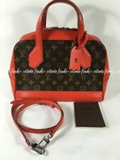 Auth Louis Vuitton Dora PM Coquelicot Red Leather Monogram Canvas Shoulder Bag