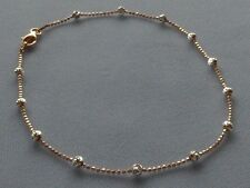 """10"""" Italian Sterling Silver/Rose Two Tone Ankle Bracelet w/Round Beads-Italy 925"""