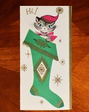 Vintage UNUSED Christmas Greeting Card CAT KITTEN WITH HAT IN STOCKING MCM