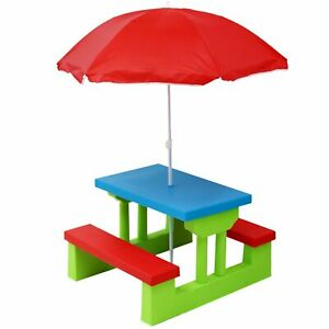NEW! Kids Childrens Picnic Bench Table Outdoor Garden Furniture with Parasol