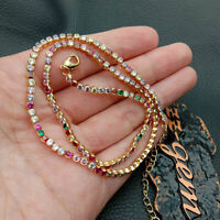 18k yellow gold platedcolorful rainbow Cubic Zirconia micro pave necklace