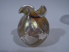 Art Nouveau Vase - Small Bud  American Iridescent Gold Glass & Silver Overlay