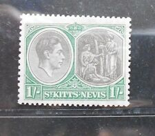 ST. KITTS & NEVIS 1938 KG VI  1s SG 75a with break in value tablet frame MLH