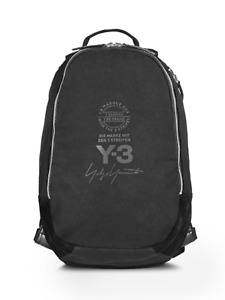 Y-3 by Yohji Yamamoto Black Backpack w/ Zip Laptop Compartment 100%Cotton Canvas