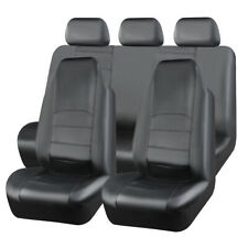 Universal Hooded Car Seat Covers Leather Black Waterproof for Large Auto Seats