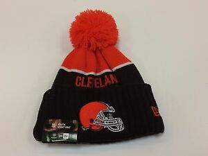Cleveland Browns New Era YOUTH On Field Sport Pom Knit Winter Hat NWT One Size