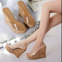 High Wedge Heels Slippers Summer Womens Open Toe Shoes Clear Platform Sandal Art