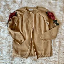 Trish Scully Child Size 14 Beige Embroidered Red Rose Appliqué Cotton Cardigan