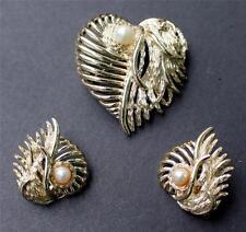 Vintage Signed MARBOUX HEART Faux Pearl Shape Set Pin Brooch Clip-On Earrings