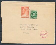 CURACAO, 2½ CT.CIJFER EN 10 CT.WILHELM.OP ENV.ARUBA ORANJESTAD 7.1.41-USA Ad348