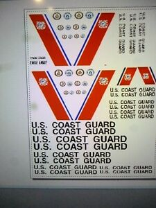 US Coast Guard EAGLE Ship Decal Set   Red Stripe 3.25 inches long  72 scale?