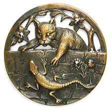 "Lg Sz Antique Pierced Brass Button Cat & Lizard w/ Cut Steel Accents - 1 & 9/16"""