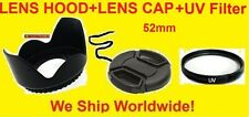 FLOWER LENS HOOD+UV FILTER+CAP 52mm fit PENTAX 18-55mm, CANON 35-80mm