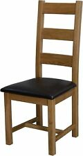 Grandeur solid oak furniture set of four ladder back dining chairs