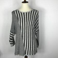Neiman Marcus Gray Striped Angora Blend 3/4 Sleeve Sweater Sz S