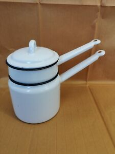 Vintage Enamel Double Boiler Cooking Pot Saucepan Made in Poland