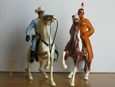 Vintage 1960's Hartland Lone Ranger and Tonto on Semi-Rearing Horses Complete!