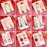 Cute Christmas Crystal Enamel Earring Women Drop Dangle Ear Hook Studs Xmas Gift