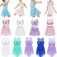 Kids Girls Sequins Fairy Latin Dance Dress Tutu Skirt Carnival Dancewear Costume