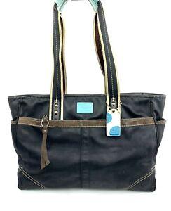 Coach Hamptons Large Black Nylon Canvas Tote Shoulder Bag F11670 Purse Diaper