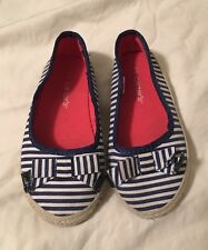 Cute Carters Flats Nautical Blue & White Shoes 9 Toddler Girls