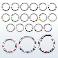16G Hinged Segment Ring Septum Clicker Earring Nose with Crystal Gem