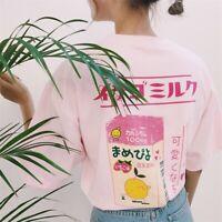 Cute Tops Harajuku Women Sleeve Strawberry Kawaii Short T-shirt Kei Milk