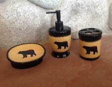 Big Sky Carvers Brushwerks Bear 3 Piece Set Lotion Soap Dish Toothbrush Holder