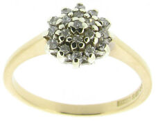 Rings 9ct 9Carat Yellow Gold Diamond Cluster Engagement Size I 0.20ct SI1 I