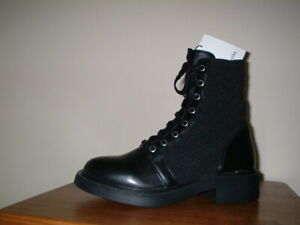 BERSHKA BLACK MILITARY COMBAT BOOTS SIZE 5/38