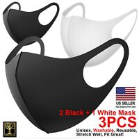 3PCS, 2 Black+1 White Washable & Reusable Fashion Face Masks US seller IN-STOCK