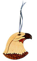 Eagle - Double-sided Wood Intarsia Christmas Tree Ornament - Large Bird theme