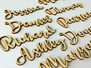Wooden Script Name Letters Words, Personalised Laser Cut Table Place Cards, L16