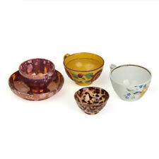 FOUR SCARCE ENGLISH POTTERY DRINKING BOWLS & CUPS 18/19TH C