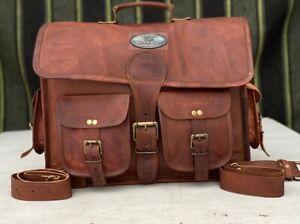 "18"" Waxed Leather Messenger Shoulder Satchel Laptop Briefcase For (Men & Women)"