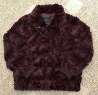 Sanctuary Clothing Womens Mock Neck Chubby Jacket Dark Shiraz Size L Faux Fur