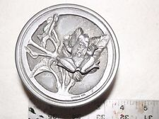"""Vintage Frog on Lily Pad Metzke Pewter Round Trinket Box 3"""" across 2"""" tall 1976"""
