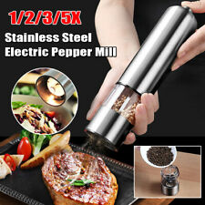1-5X Electric Salt and Pepper Grinder Mill Set Stainless Steel Battery Operated