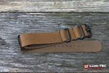 LUM-TEC Genuine OE Brown Leather Military Strap with PVD rings