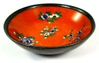 Maas Brothers Metal & Ceramic Vintage Hand Painted Bowl Orange 5.5 Inches